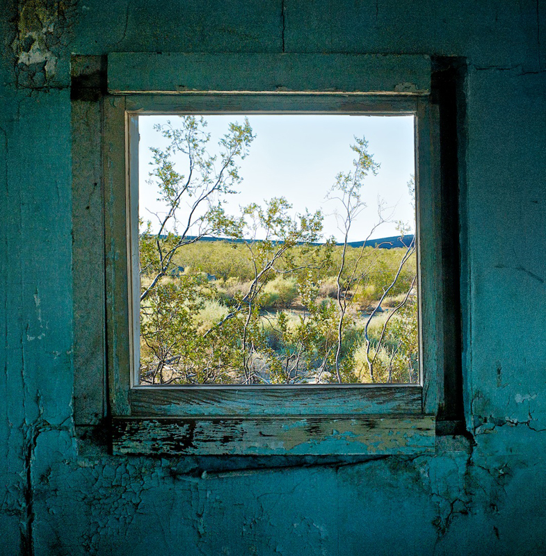 Window with Creosote Bush - Dunmovin, CA - 2010 from Desert Windows Series by Osceola Refetoff